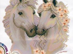 Вышивка крестом пара белых лошадей 37