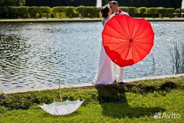 """Свадебный зонтик """"Сердце"""", зонт от дождя в прокат купить в ZC96"""