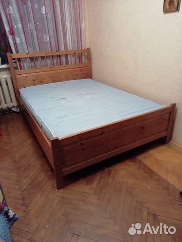 кровать икеа деревянная с основанием и матрасом Festimaru