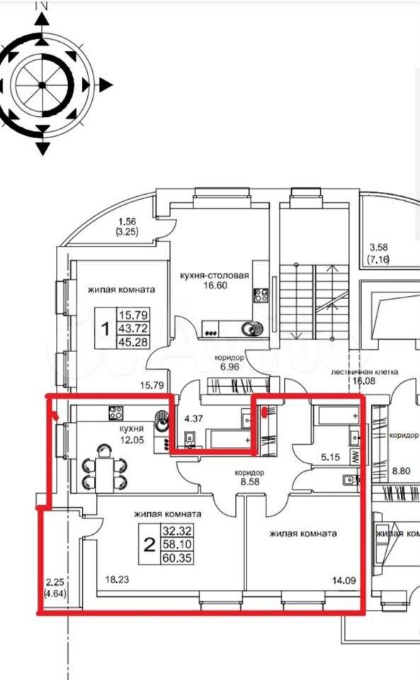 2-к квартира, 60.4 м², 2/10 эт.  89058725003 купить 1